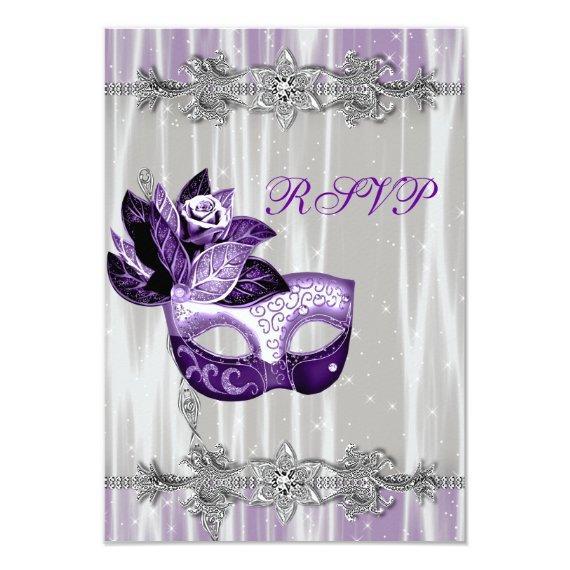 Silver Purple Sparkle Purple Masquerade Party RSVP