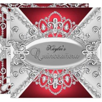 Silver & Red Diamond Damask Invite