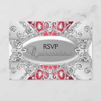 Silver & Red Diamond Damask RSVP