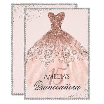 Silver Rose Gold Dress Sparkle 15th