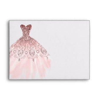 Silver Rose Gold Sparkle Diamond Dress Envelope