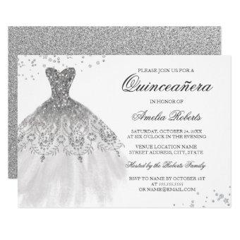 Silver Sparkle Dress Quinceanera Invitation