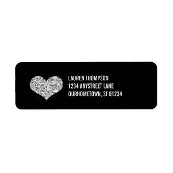 Silver Sparkle Heart Label