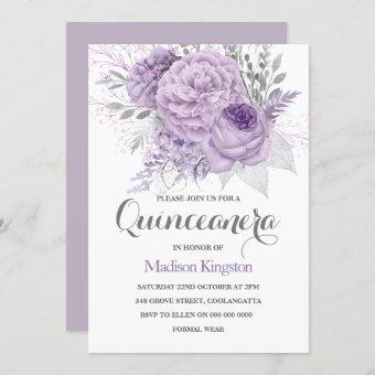 Silver Sparkle Lavender Party Invite