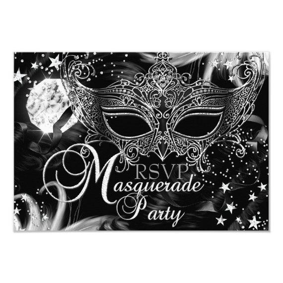 Silver Sparkle Mask Star Night Masquerade RSVP