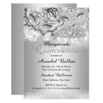 Silver Sparkle Masquerade Invite