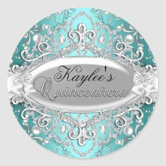 Silver & Teal Damask Pearl Sticker