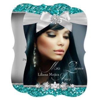 Silver & Teal Glitter Bow Photo