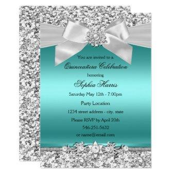 Silver Teal Glitter & Jewel Bow