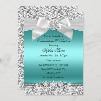Silver Teal Glitter & Jewel Bow