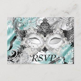 Silver Teal Sparkle Mask Masquerade Party RSVP