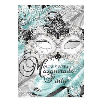 Silver Teal Sparkle Mask Masquerade Quinceanera Invitations