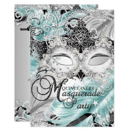 Silver Teal Sparkle Mask Masquerade Quinceanera Invitation
