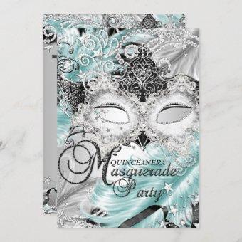 Silver Teal Sparkle Mask Masquerade