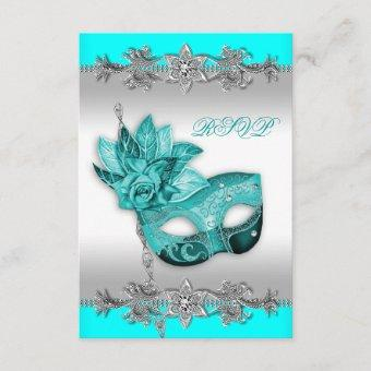 Silver Turquoise Blue Masquerade Party RSVP