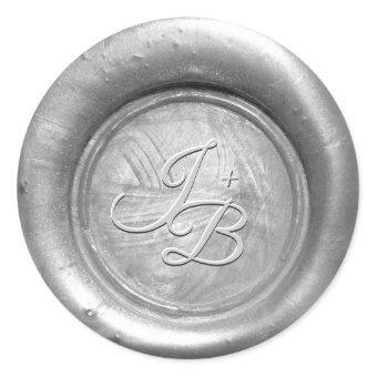 Silver Wax Seal Monogram Wedding Envelope Stickers