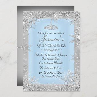 Silver Winter Wonderland Blue Invite