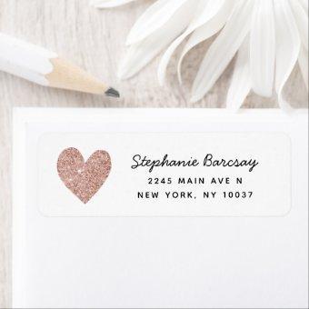 Simple Glam Rose Gold Glitter Heart Return Address Label
