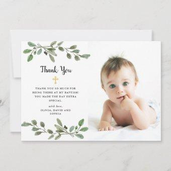Simple Watercolor Greenery and Gold Photo Baptism Thank You