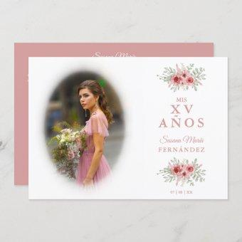 Sophisticated Floral in Pink Spanish Photo Mis XV