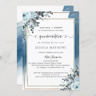 Spanish Blue Quinceañera Watercolor with Floral