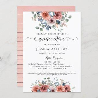 Spanish, Blush Pink and Blue Floral Quinceañera