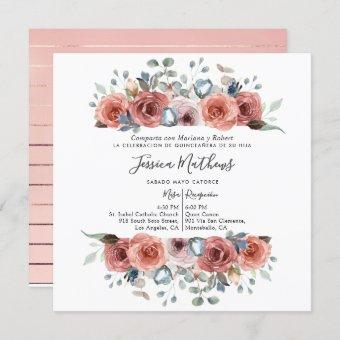 Spanish , Blush and Dusty Blue Floral