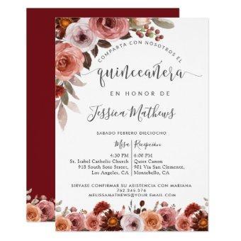 Spanish Quinceañera, Burgundy Blush Floral Marsala