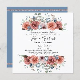 Spanish , Dusty Blue and Pink Floral