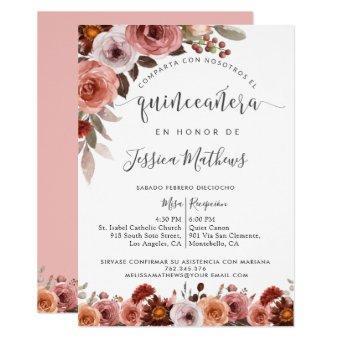 Spanish Quinceañera, Floral Burgundy Blush Marsala