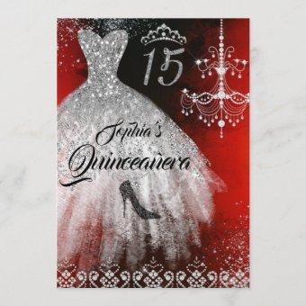 Sparkle Diamond Dress Red Silver Black