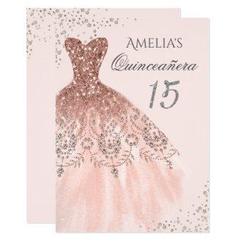 Sparkle Dress Pink Rose Gold Invite