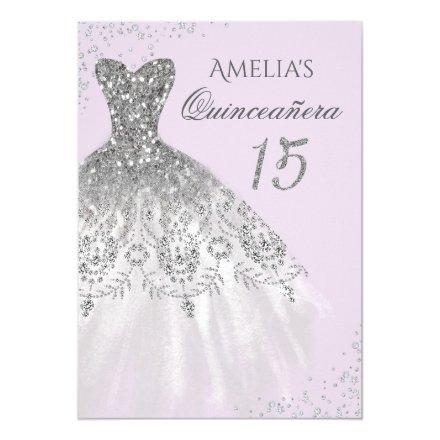 Sparkle Dress Purple Silver Quinceanera Invitation