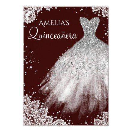 Sparkle Dress White Lace Burgundy