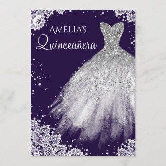 Sparkle Dress White Lace Purple