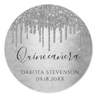 Sparkle Drip | Silver Diamond Icing Classic Round Sticker
