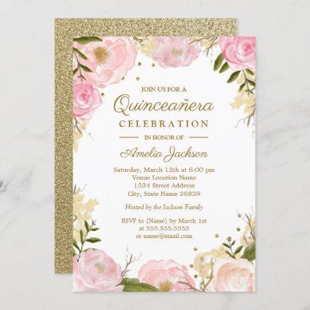 Sparkle Floral Pink Gold