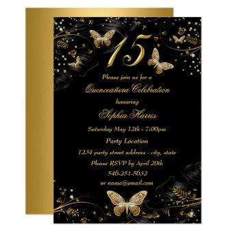 Sparkle Gold Black Butterfly Invite
