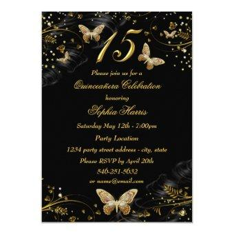 Sparkle Gold & Black Butterfly Invite