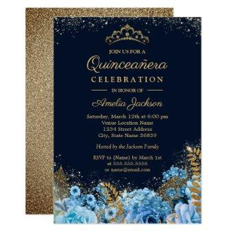 Sparkle Gold Blue Glitter floral 15th