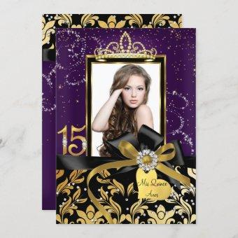 Sparkle Gold Purple Damask & Bow Photo