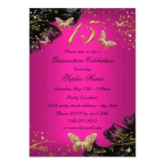 Sparkle Pink & Gold Butterfly Invite