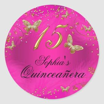 Sparkle Pink & Gold Butterfly Sticker
