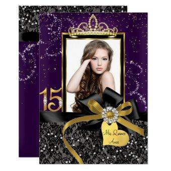 Sparkle Purple Gold Lace & Bow Photo