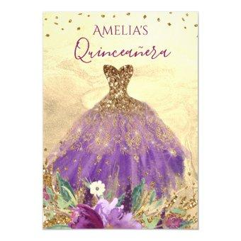 Sparkling Amethyst Dress Gold Invite