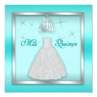 Sparkling Invite Teal Silver White