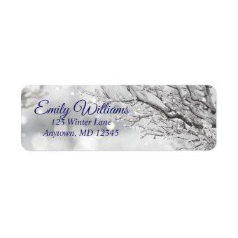 Sparkling Snow and Ice Winter Return Address Label