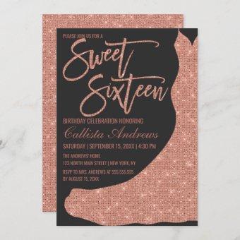 Sparkly Black Rose Gold Glitter Dress Sweet 16