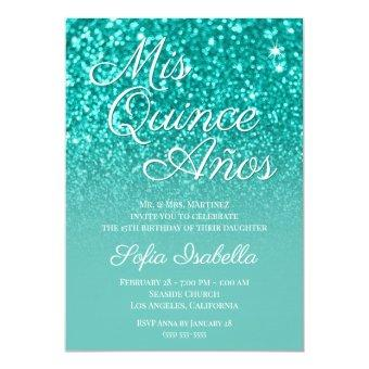 Sparkly Bokeh Teal Glitter Ombre Mis Quince Años
