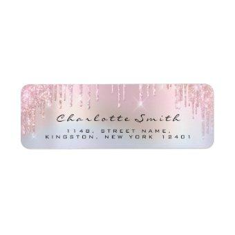 Sparkly Drips Rose Pink Return Address Holograph Label